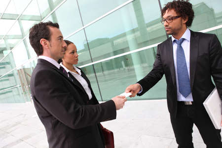 introduce: Businessman introducing himself Stock Photo