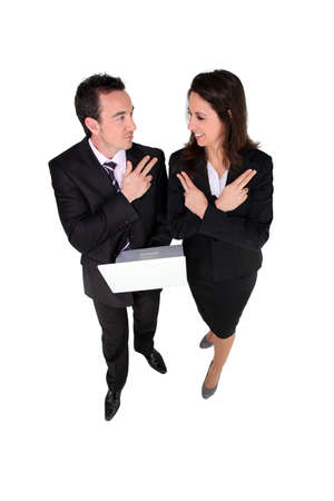 competitive business: Determined and competitive business people Stock Photo