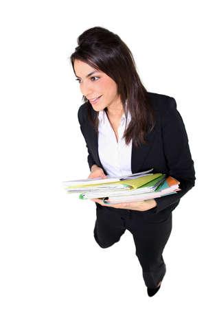 an employee holding notebooks photo
