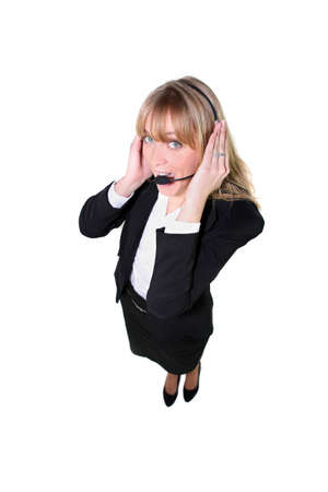 Full length shot of a suited woman wearing a telephone headset photo