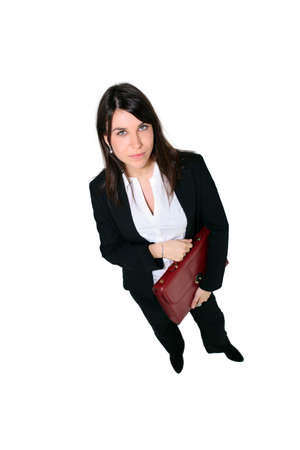 Full length studio shot of a woman with a briefcase photo