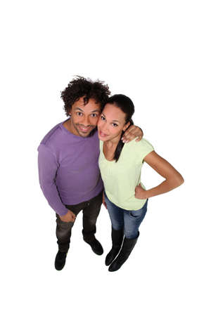 high angle shot: high angle shot of couple looking happy Stock Photo