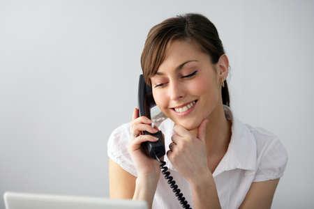 Brunette receptionist photo