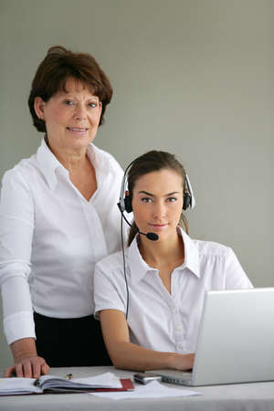 Woman wearing a headset photo
