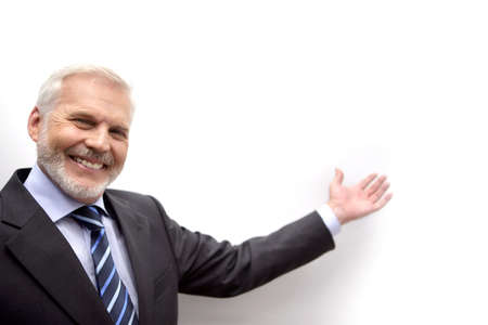 Businessman gesturing with hand photo