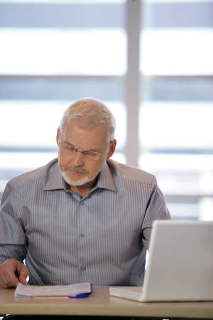 Senior businessman at his desk photo