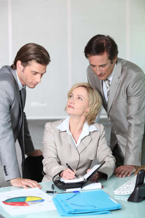 collaborators: Executives making a date in the diary Stock Photo