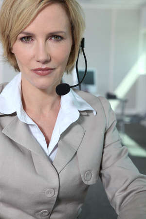Woman with headset. photo
