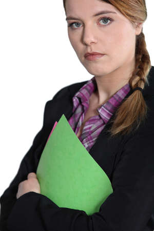 Young businesswoman with file. Stock Photo - 13853551
