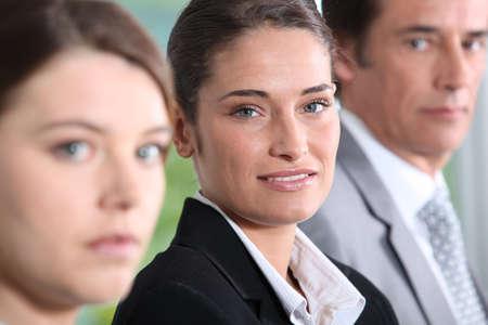 collaborators: Head shot of three dynamic businesspeople Stock Photo