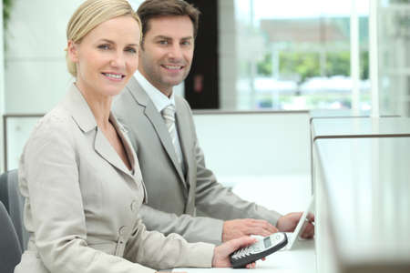 hotel receptionist: Smiling receptionists