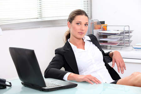 table skirt: woman in office
