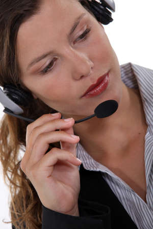 Portrait of woman wearing headset Stock Photo - 13844853