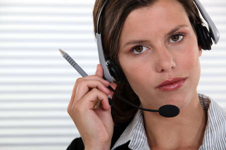 secretary with headset Stock Photo - 13845716
