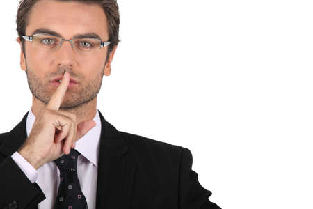 silently: Smart man asking for silence