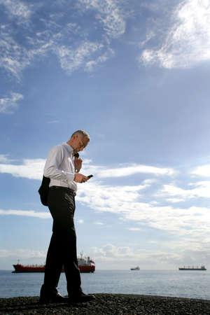 powerful man: businessman sending a message