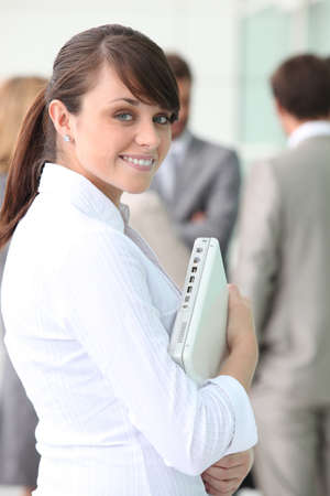 Trainee banker satisfied Stock Photo - 13845808