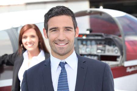 elegant business man: portrait of a pilot