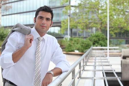 sales representative: Businessman standing outside
