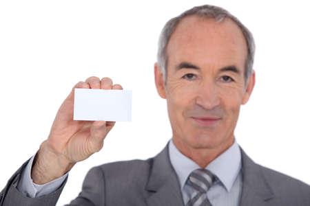 businesscard: Man showing businesscard