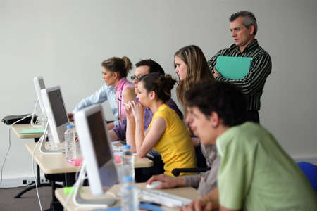 computer lab: Adult computer class Stock Photo