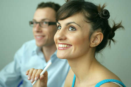 enthusiasm: Woman participating in a seminar Stock Photo