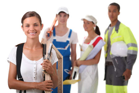 intended: a group of four apprentices in the construction industry