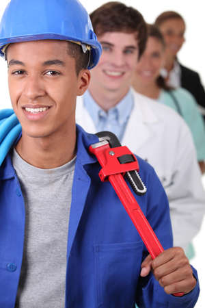 trained nurse: Workers from various domains Stock Photo