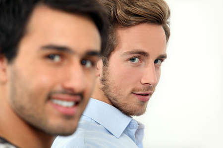 blonde close up: Portrait of two young people Stock Photo