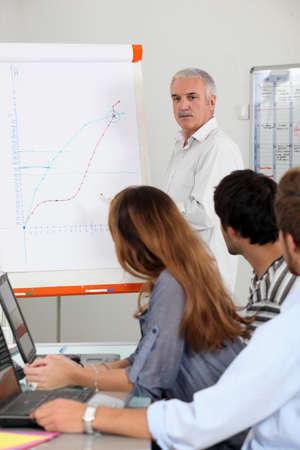 Lehrer an der Vorderseite der Klasse