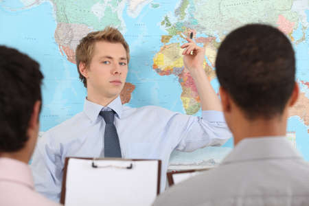 collaborators: A businessteam planning a relocation.