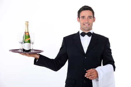 Waiter with champagne photo