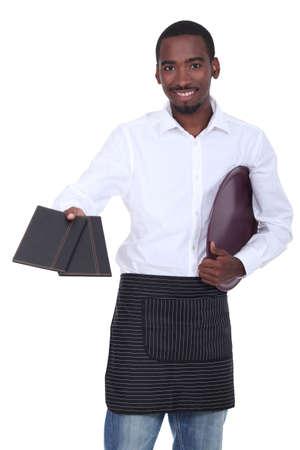 Waitor giving menus photo
