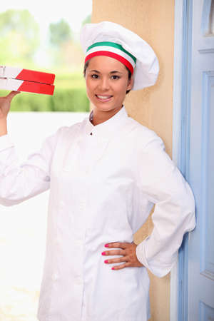 chefs whites: Pizza delivery Stock Photo