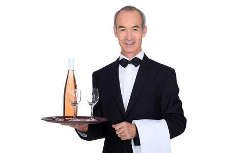 Smart waiter on white background photo