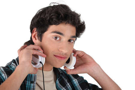 brown-haired man with headphones Stock Photo - 13839490