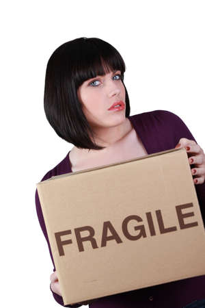 Unhappy woman on moving day photo
