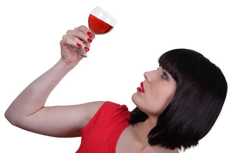 Woman with glass of wine Stock Photo - 13844339