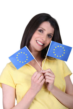 imply: Woman with paper flags