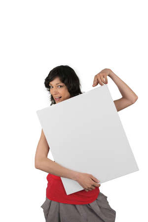 notecard: Woman with blank advertising panel