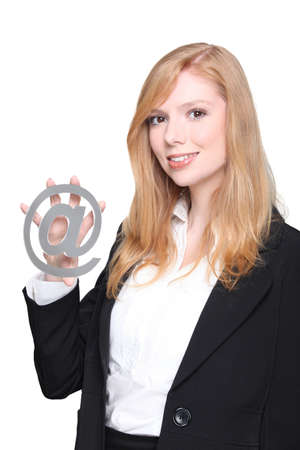 Woman holding at symbol photo