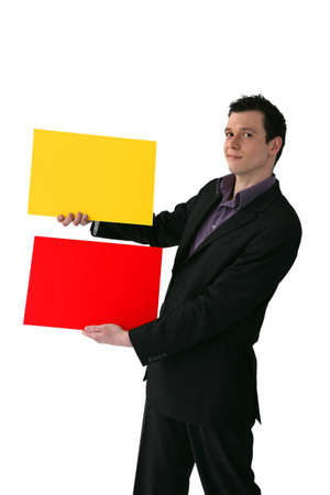 Businessman holding yellow and red rectangles photo