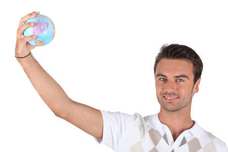 lifting globe: Man lifting globe Stock Photo