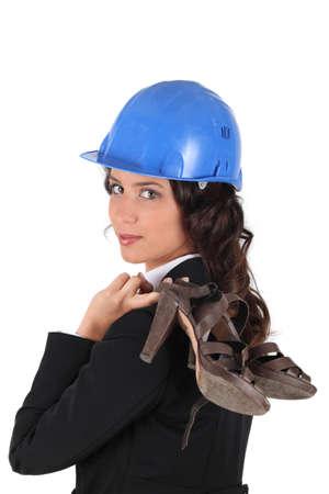 anachronistic: Woman with helmet