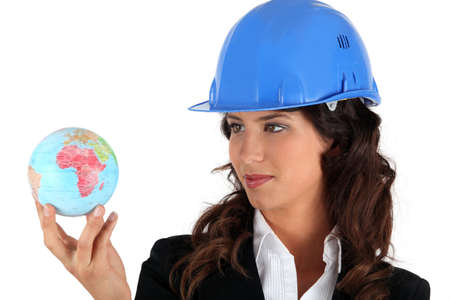 businesswoman holding a globe Stock Photo - 13866173