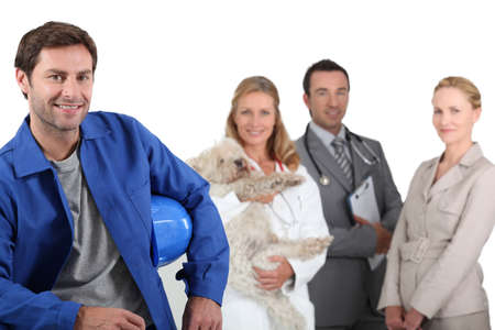 studio happy overall: Four professionals from different domains Stock Photo