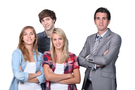 Businessman with young people photo