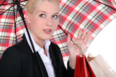 portrait of a woman under umbrella photo