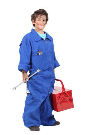 apparently: boy mechanic Stock Photo