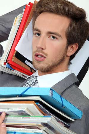 fedup: Male office worker under pressure